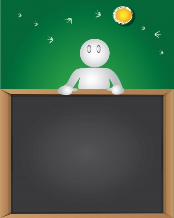 Blank board and business man cartoon,Vector  Vector