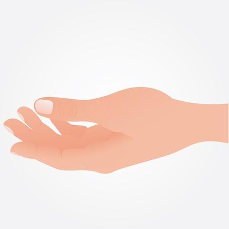 Lege open hand op een witte achtergrond, Vector Vector Illustratie