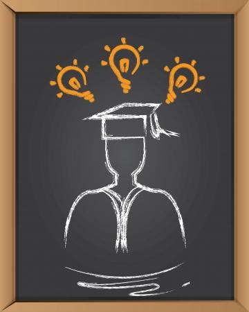 degree: Persone di laurea su sfondo bordo nero, vettore Vettoriali