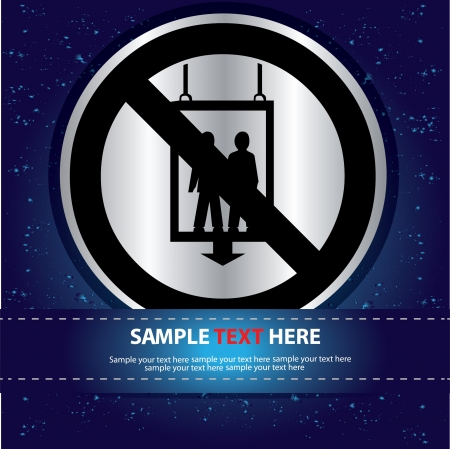 No elevator sign on blue abstract background,Vector Stock Vector - 16174320