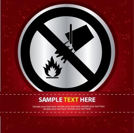 Fuego Etiqueta Sign, Vector