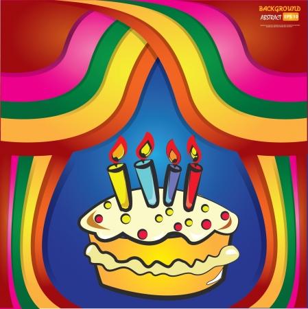 pastel feliz cumplea�os: Pastel de cumplea�os feliz colorido abstracto del vector,