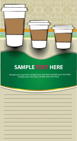 Coffee cups and blank paper for text,Vector  Vector