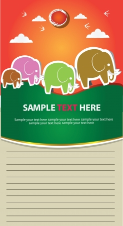 Family elephant and blank paper for text,Vector  Vector