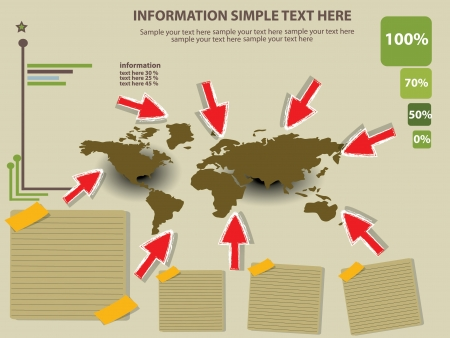 Map of the world and information,Vector