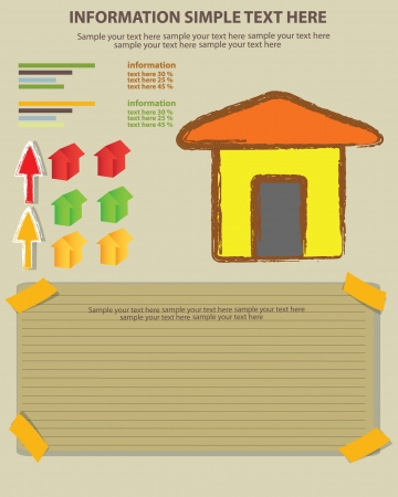 Houses and blank paper for text,Vector Vector
