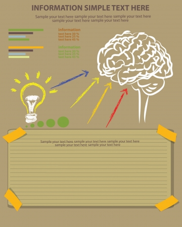 Brain and blank paper ,Vector Vector