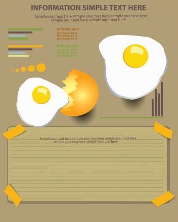 yoke: Fried egg vector illustration and blank paper