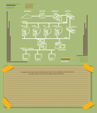 Computer Network and blank paper,Vector  Vector