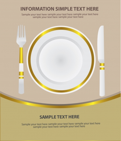 empty plate: Dinner place setting,Vector  Illustration
