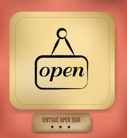 Open sign,vintage Stock Vector - 18882213