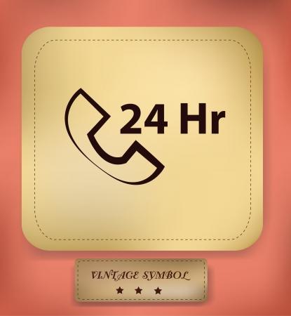 24 hr: Telephone 24 Hr,vector Illustration