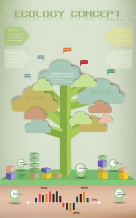 Ecology background,info graphics,tree,vecto r Vektorové ilustrace