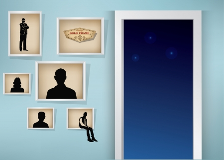 Frames on wall,and open door,vector Vector