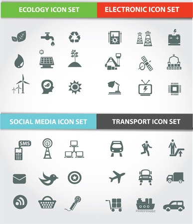 telecoms: Transport,Social media,Energy   Ecology icons,Vector