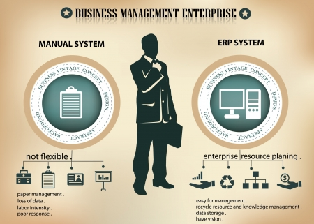 old business man: Business man and enterprise planning resource,vector Illustration