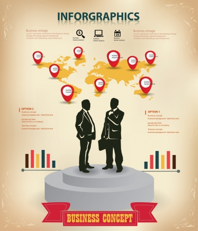Map and human resource,business concept,vector Illustration