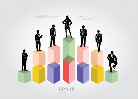 Graph and business people,background,vector  Vector