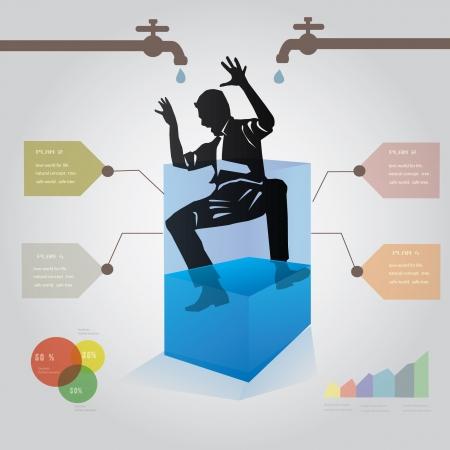 Business man in water,graphics design,vector Stock Vector - 18625947
