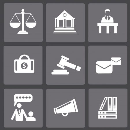 legal court: Law, legal and justice related symbols,vector