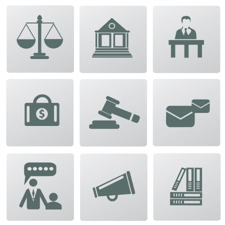 judicial: Law, legal and justice related symbols,vector
