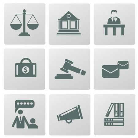 gerechtigkeit: Law, Rechts-und Justizsystem verbundenen Symbole, Vektor Illustration