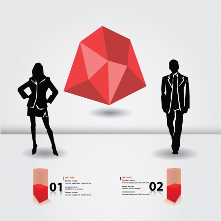 Business woman and business man,blank for text,vector  Vector