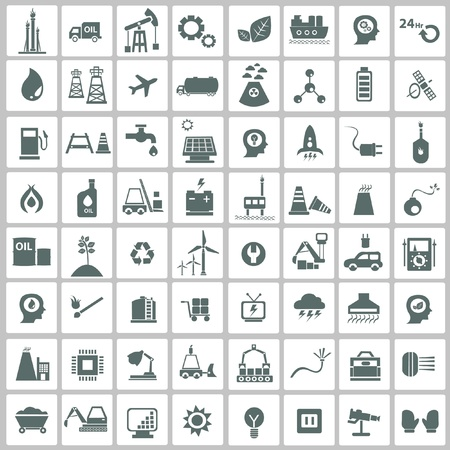 Industriële, energie, b uilding en natuurlijke icon set, vector Vector Illustratie
