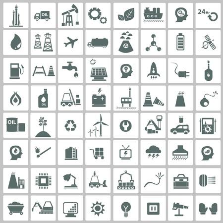 baterii: Przemysłowej, energetycznej, b uilding i naturalny zestaw ikon, wektor Ilustracja
