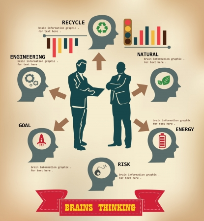 Thinking,Brains,Bus iness graphics for text,vector  Vector