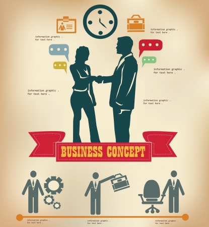 clock gears: Business inforgraphics,vintage,vector Illustration