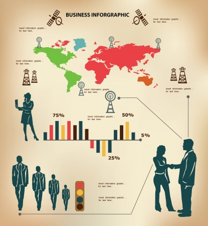 Business map of the world ,inforgraphics,vect or  Stock Vector - 18625965