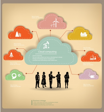 Clouds,Management,business concept,vintage Vector