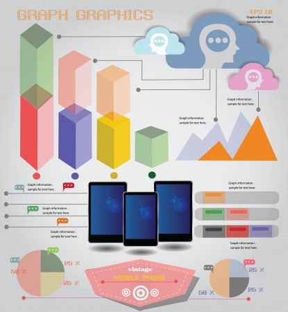 Mobile phone,info graphics,graph,vector Vector