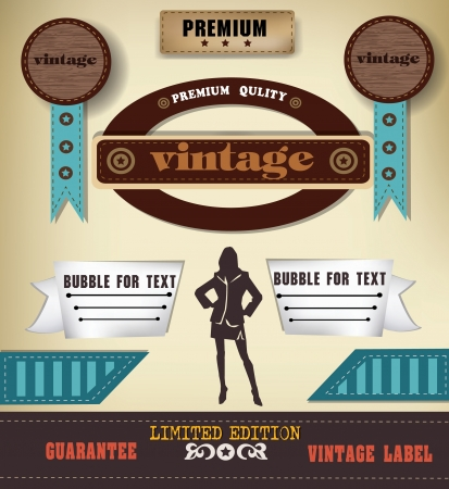 Woman and label,vintage,vector Vector