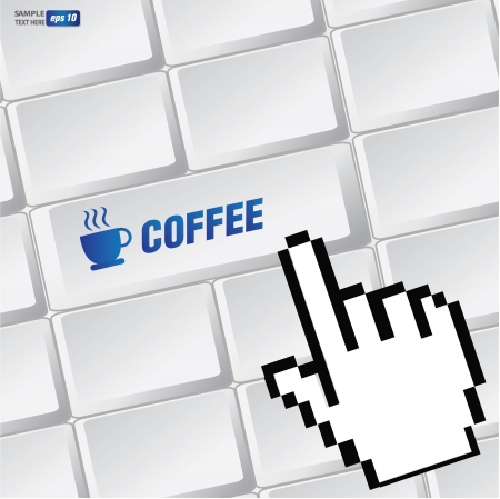 Coffee cup symbol on keyboard,vector  Stock Vector - 18616872