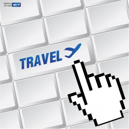 travel symbol: Travel symbol on keyboard,vector