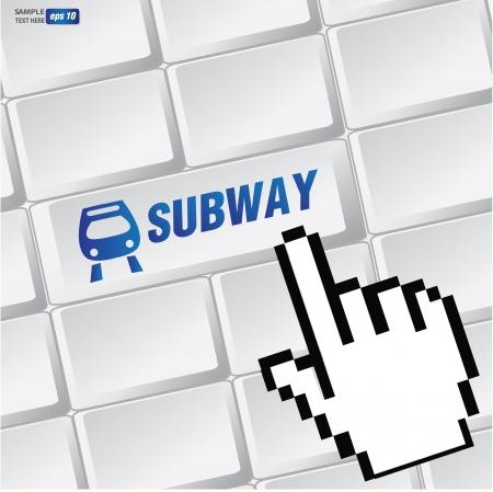 Subway symbol on keyboard,vector Vector