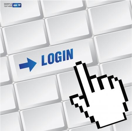 Log in symbol on keyboard,vector Stock Vector - 18616859