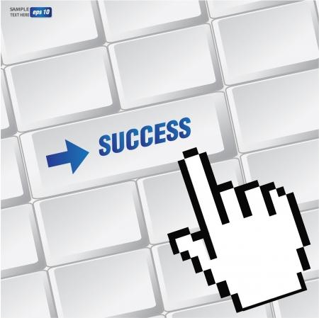 Success symbol on keyboard,vector  Vector