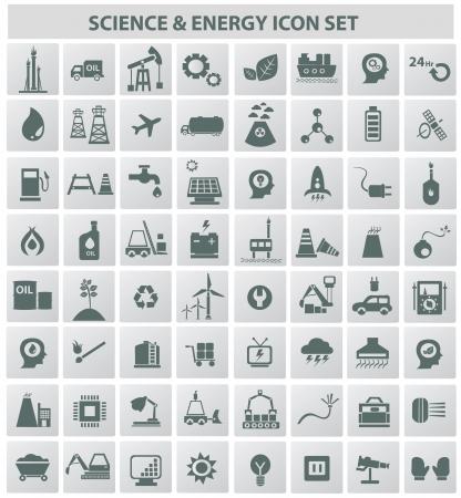 Industrie, Energie, b Gebäudetiefe und natürliche icon set, vector