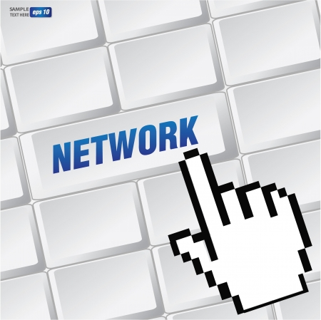 Network symbol on keyboard,vector Stock Vector - 18625840