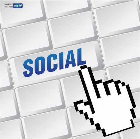 Social symbol on keyboard,vector Vector