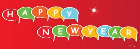 Happy new year,speech bubbles,Vector  Vector