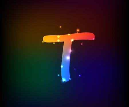 Alphabet light,Letter T,Vector  Vector