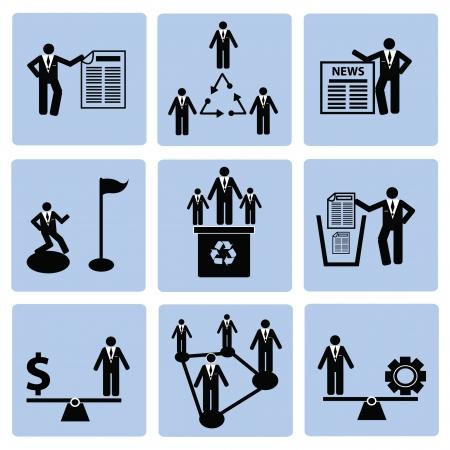 corporate hierarchy: Delle risorse umane, set di icone, illustrazione Vettoriali