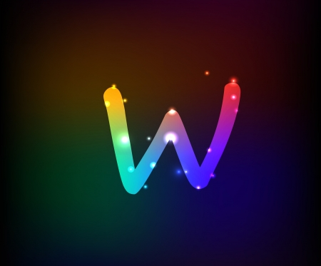 Alphabet light,Letter W,Vector  Vector
