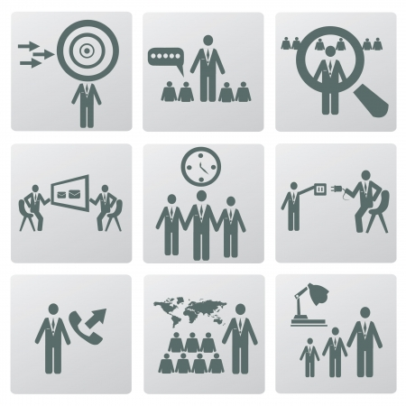 lecturing: Management icon set,Vector  Illustration
