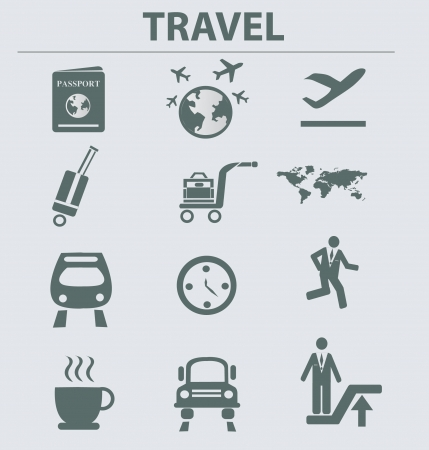 tree world tree service: Travel icon set,vector