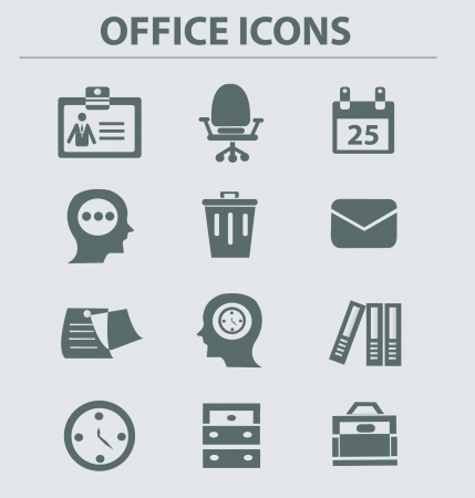 thinking icon: Business   office icon set,vector